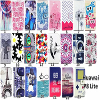Eiffel Tower Owl Flower Cover Stand Dress Style Flip Leather Case Card Holder Wallet Case for Huawei Ascend P8