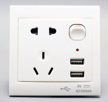 Universal Dual home wall power usb wall socket International 2 port electric socket for digital&electronic products