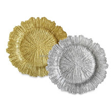 Reef Glass Charger Plates ,ridged glass plates as decor in living or dining rooms