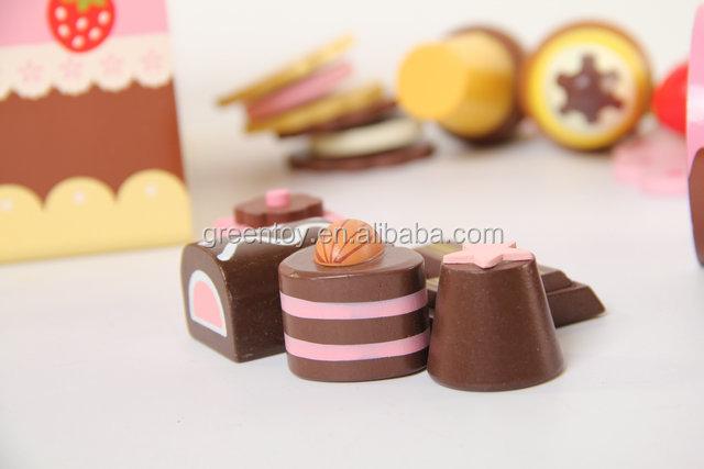 Houten speelgoed taart set chocolade, houten speelgoed keuken sets ...