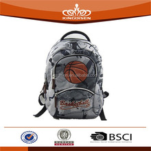 basketball pattern 300D PVC sport back bag with four compartments