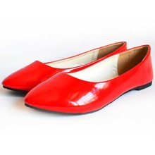 Candy Color Slip On Patent PU Women Ballet Flats Shoes