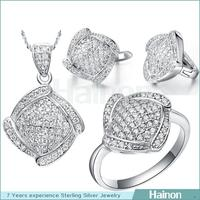 rhodium plated brass shine cz stone wholesale african costume jewelry set wholesale