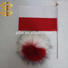 2015 nuevo producto decorar polonia polonia Real de piel de mapache Pom Poms