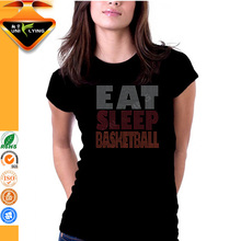 Eat sleep basketball rhinestone logo design for basketball jersey tshirt
