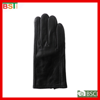 2015 new style BSCI certlficate fashion black ladies leather gloves