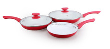 Great Quality Cooking Pans/3pcs Red Eco Non-stick Frying Pan Set With Easy Cleaning Coating For Induction Cooker