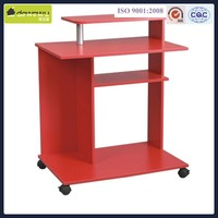 Red color PB materials computer desk for 2 computers