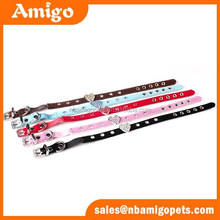 Hot sale high quality with heart shape bright diamonds pet cat collars personalized