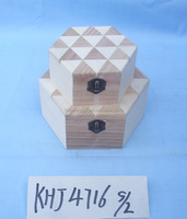 High quality competitive and delicate hexagon wooden box for jewelry triangle shape painted on the lid