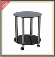 Movable tempered black glass coffee side table with wheels ST008