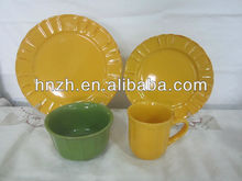 16pcs yellow Color Embossed glazed ceramic stoneware dinner set/stoneware for 16pc dinner set/new year tableware