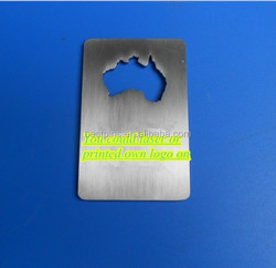 Standard Credit Card Size Beer Bottle Opener - Australia Map Design - Laser/Printed OEM Logo on