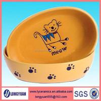 2015 new design ceramic Cat shape pet bowl &feeders