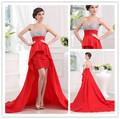 rojo frente a corto y largo de espalda vestidos de dama de honor con lentejuelas de cuentas superior escote corazón largo tren