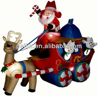 Giant christmas inflatable santa claus with reindeer
