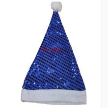 Promotional Blue Velvet Cloth Christmas Hat,Santa Hat For Adult and Children