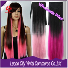 Belted Ponytail Heat Resistant Synthetic Long Straight Ombre x-person Hair Extension Hairpiece Fire Hair +Purple