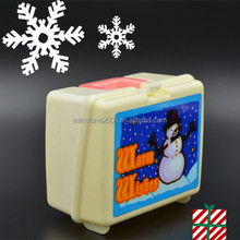 Plastic Christmas Style Mini Lunch Box openable Container with various sticker