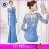 Custom Made Beaded Appliqued Chiffon Mermaid Turkish Evening Dresses With Long Sleeve