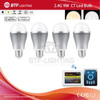 4x 2.4g led 9w bulb e27 dimmable CCT + Mi light wifi adapter contrller by USB