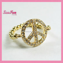 Shenzhen brass ball and alloy peace men gold ring A000244