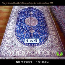Factory customized size artificial rug bedroom mini overlook blue flower hotel hand knotted persian carpet