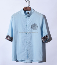 Embroidered and printed solid color/comfort casual men's shirt/Chinese style casual Tshirt/latest design men shirts of 2015