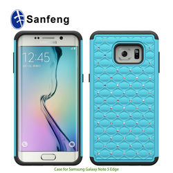 Luxurious Hybrid Dual Layer Total Defender Combo Covers For Samsung Note 5 Edge, Diamond Bling Cases For Galaxy Note 5 Edge