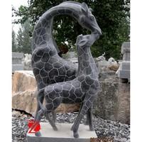 black stone garden giraffe statue with cub