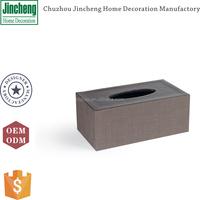 Vintage rectangular brown PVCtextilene tissue paper box, paper tissue box, leather tissue box cover