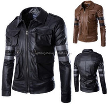 Hot sale leather coat motorcycle lamb fleece jacket man hoodie men leather jacket
