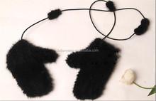 ไนลอนถุงมือนวด/ฤดูหนาวหมวกกำมะหยี่/สีดำนิ้วถุงมือneoprene