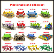 wholesale folding children plastic table and chairs for nursery furniture, kids study table and chair for kindergarten furniture