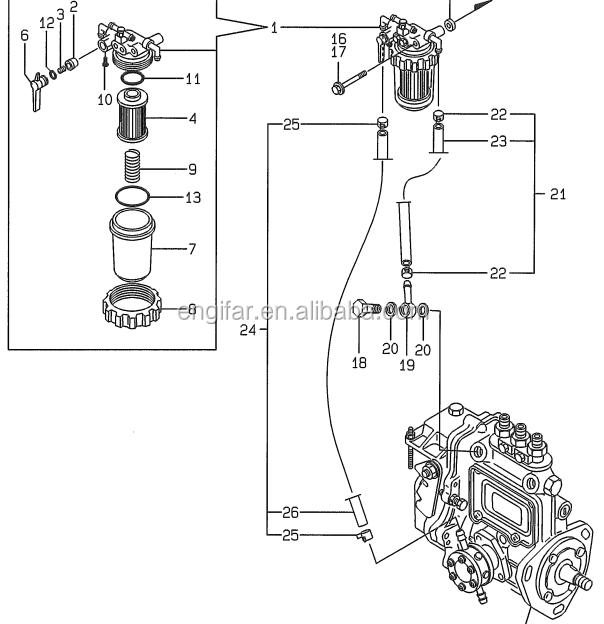 v3300 kubota diesel engine parts fuel filter 557619