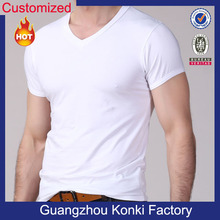 Man plain 100 cotton deep v neck t shirts for men