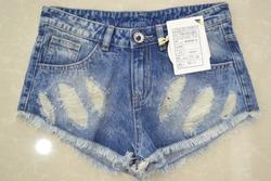 100% Cotton Sexy Jean Shorts Trendy Destroy Wash Denim Shorts