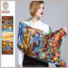 Wholesale digital silk scarf printing fashion silk shawl stole scarf shawl