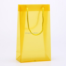 China supplier yellow color recycled pp clear plastic shopping bag with rope