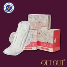 on stock women tabbed 100% pure cotton sanitary napkin