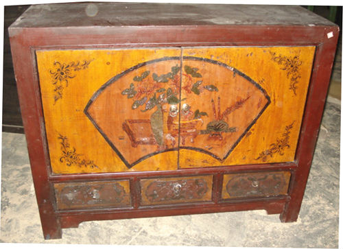 Meubles anciens chinois gansu peint cabinet lwb089 meubles for Meuble cabinet chinois