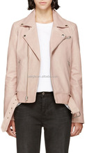 Powder pink biker leather jacket motorcycle woman