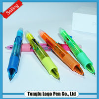 2015 Beautiful multi colored ball pen with highlighter