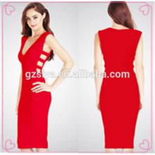 nuovo arrivo donne eleganti da sera vestito rosso corto abito benda 2015