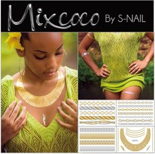 Mixcoco metallic tattoo supply, custom body jewelry temporary metallic tattoo