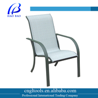 Outdoor aluminum frame stacking sling dining chair with armrests