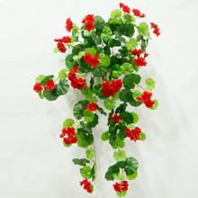 hot sale wall hanging decoration artificial flower vine wholesale red artificial begonia flower hanging bush for home decor