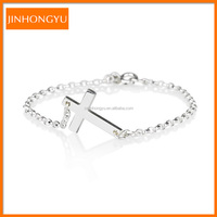 Fashion jewelry wholesale 925 sterling silver roll chain Cross charm bracelet for man and woman
