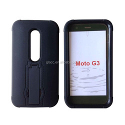 factory supply PC+silicone diamond grain phone case with stand for moto G3