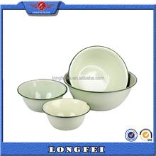 Pure color enamel bowl different sizes metal enamel bowl white metal bowls